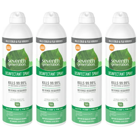 Cleaner Spearmint - Seventh Generation Disinfectant Spray, Eucalyptus Spearmint & Thyme Scent, 13.9 Ounce (Pack of 4)