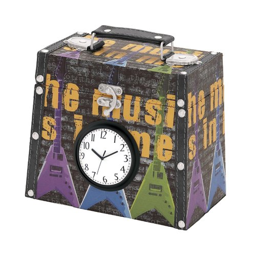 Benzara 40987 Library Storage Books - Wood Canvas Clock Box 7 inch H, 7 inch W