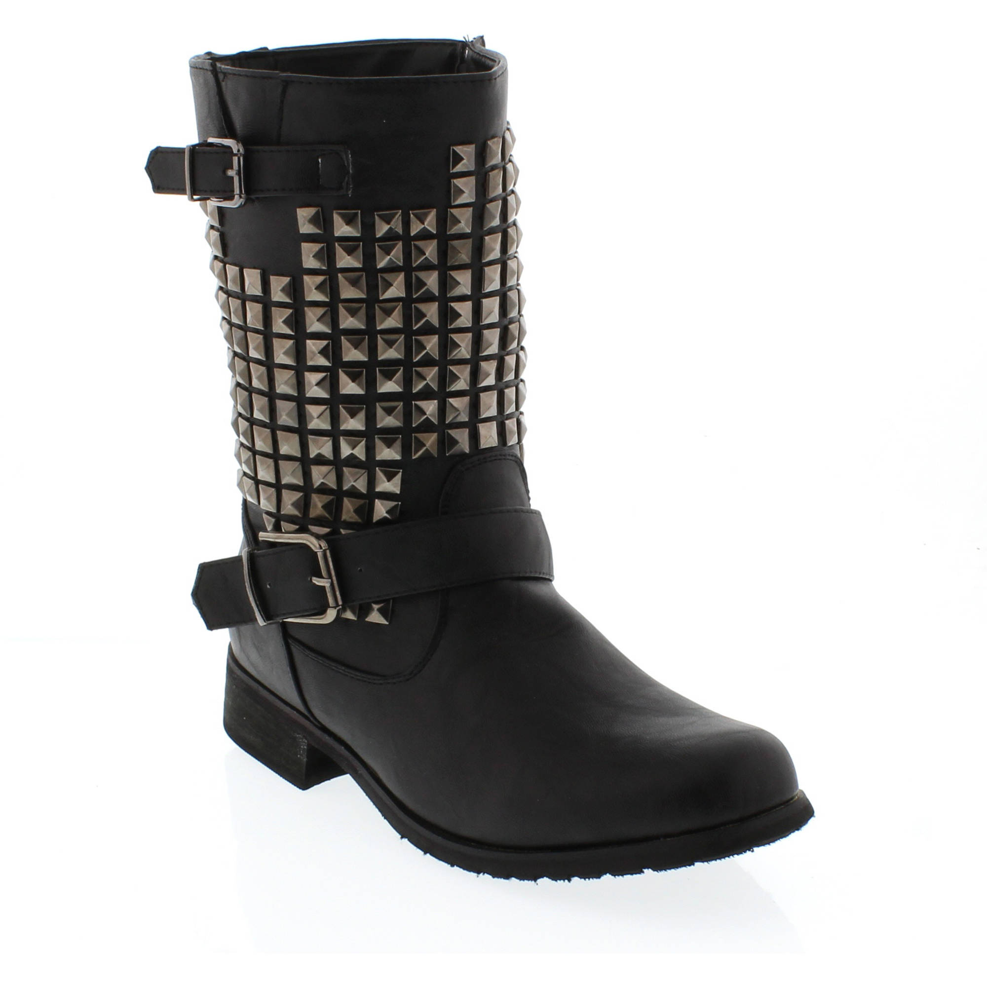 Shoes of Soul Women's Two Buckle Studded Boots