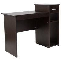 Flash Furniture Highland Park Espresso Wood Grain Finish Computer Desk with Shelves and Drawer