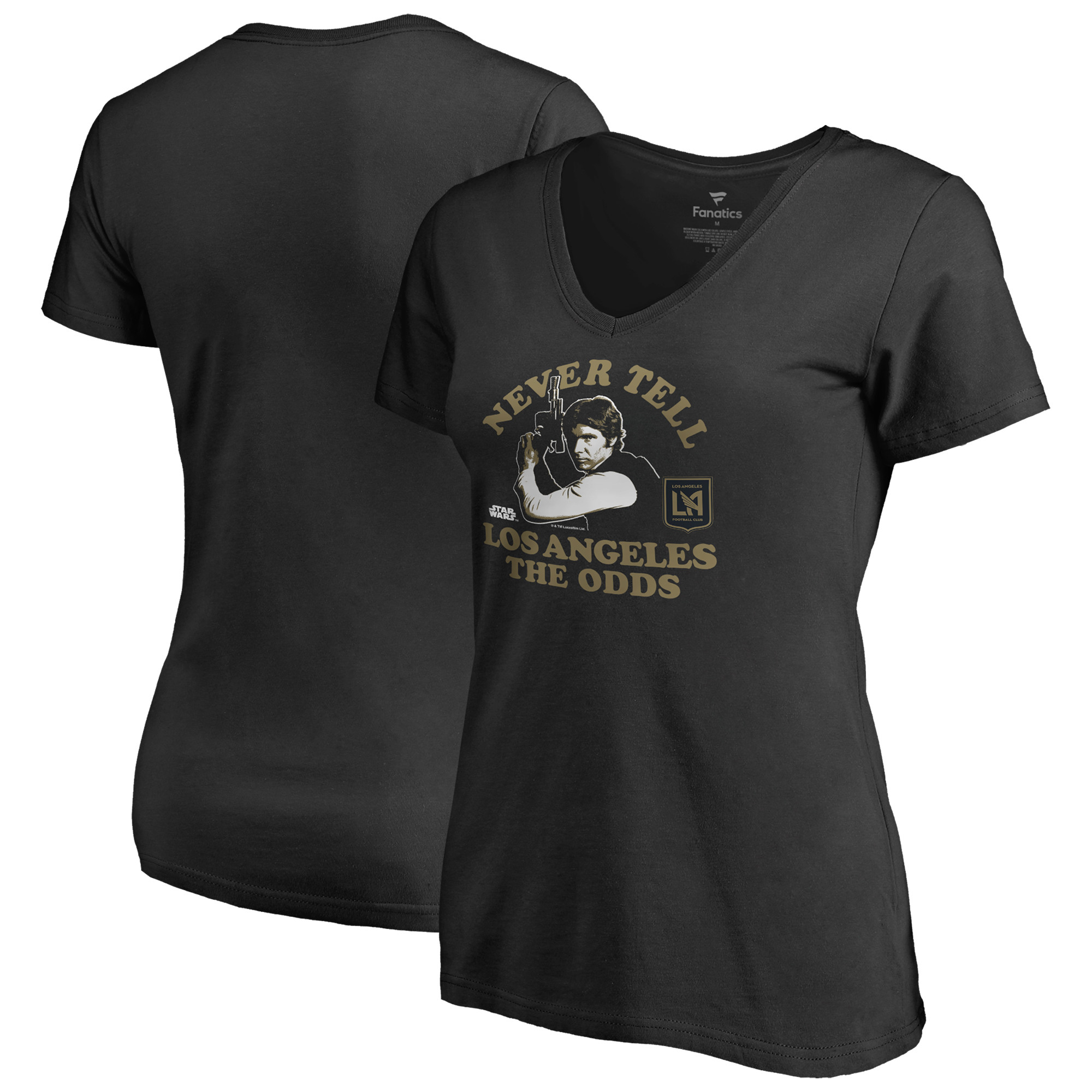 LAFC Fanatics Branded Women's Star Wars Never Tell the Odds V-Neck T-Shirt - Black