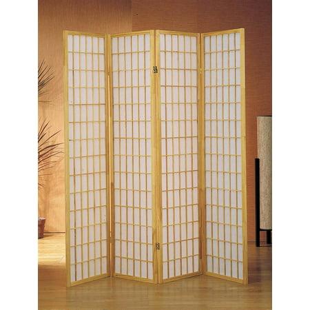 4-Panel Shoji Room Divider Screen w Natural Frame - Natural Room Divider Shoji Screen