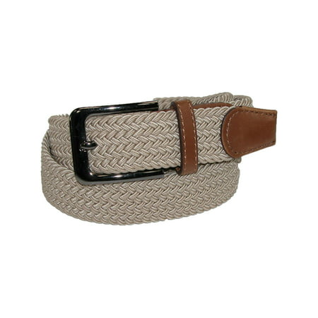 Men's Elastic Braided Stretch Belt with Silver Buckle and Tan Tabs Designer Star Belt Buckle