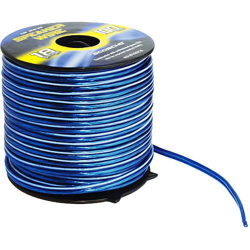 Scosche 18-Gauge CCA Speaker Wire, Blue, 100' Spool