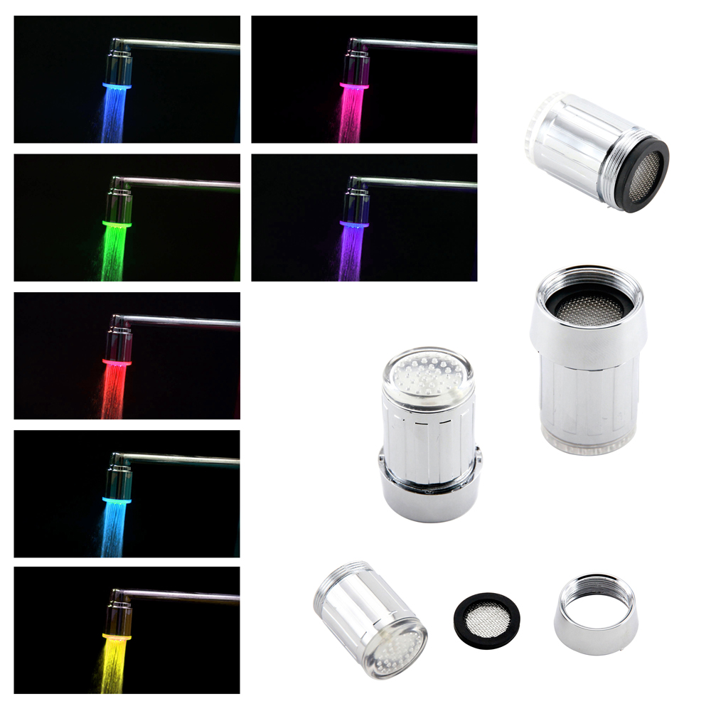 multi color automatic changing led glowing lights water tap faucet stream lights