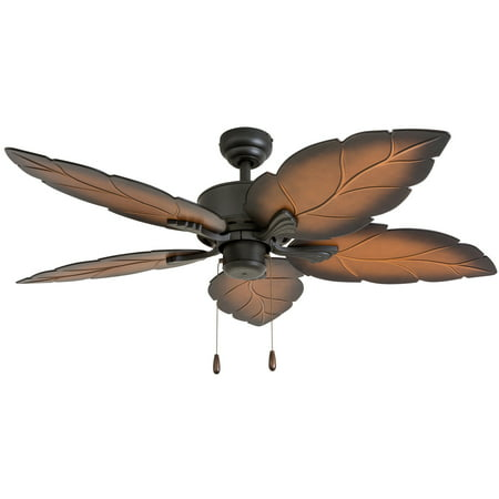 Prominence Home 50571-35 Beauxregard Tropical 52-Inch Tropical Bronze Indoor Ceiling Fan, Mocha Blades](Tropical Fans)