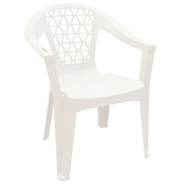 Adams Penza Outdoor Resin Stack Chair With Phone Holder Plastic Patio Furniture White Walmart Com Walmart Com