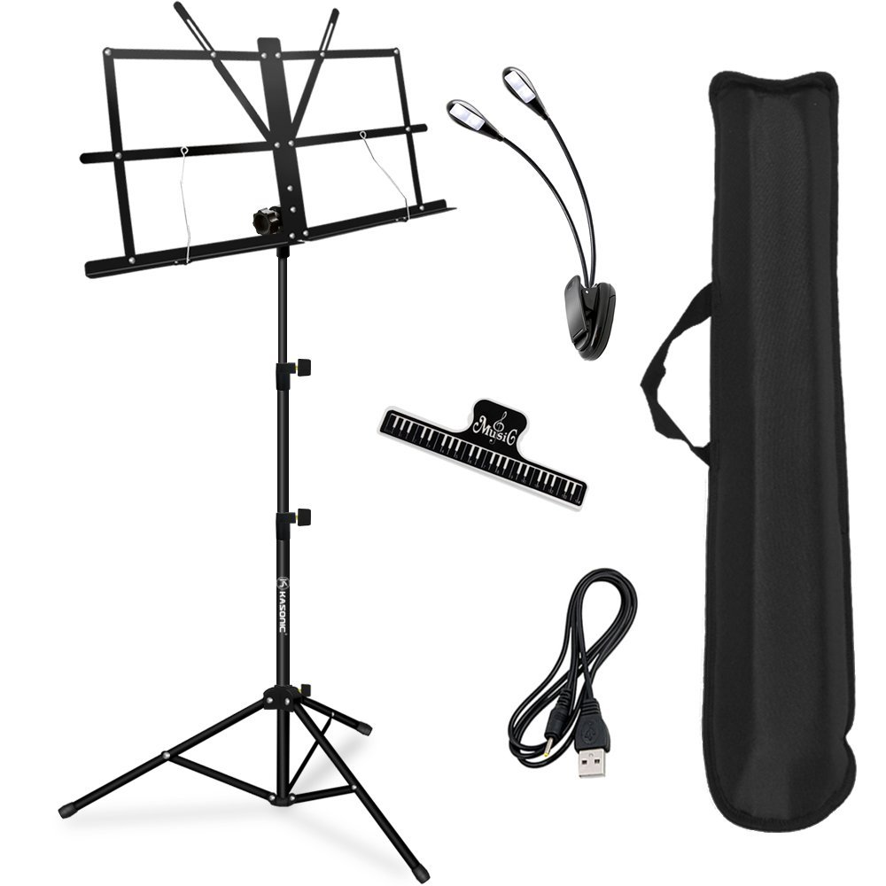 Music Stand, Kasonic Professional Collapsible Music Stand Portable and Lightweight with LED light, Music Sheet Clip Holder and Carrying Bag Suitable for Instrumental Performance