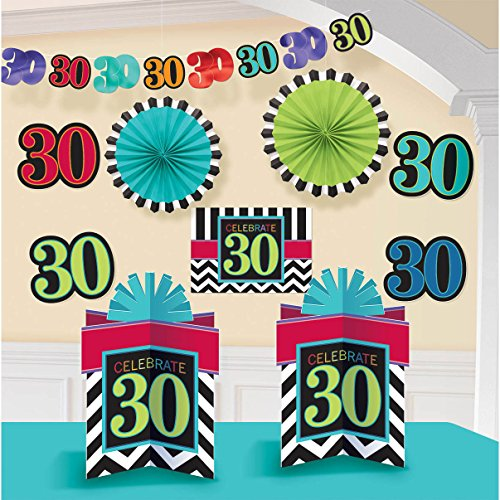 """Must-Have Chevron and Stripes 30th Birthday Party Assorted Room Decorating Kit , Pack of 10, Multi , 10.5"""" X 2.6"""" paper"""