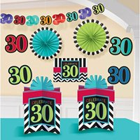 "Must-Have Chevron and Stripes 30th Birthday Party Assorted Room Decorating Kit , Pack of 10, Multi , 10.5"" X 2.6"" paper"