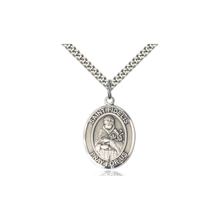 Sterling Silver Saint St  Fidelis Medal Pendant 1 X 3 4 Patron Saints On A 24 Inch Stainless Silver Curb Chain Necklace Gift Boxed