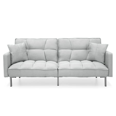 Best Choice Products Convertible Futon Linen Tufted Split Back Couch w/ Pillows - Light Sea Foam