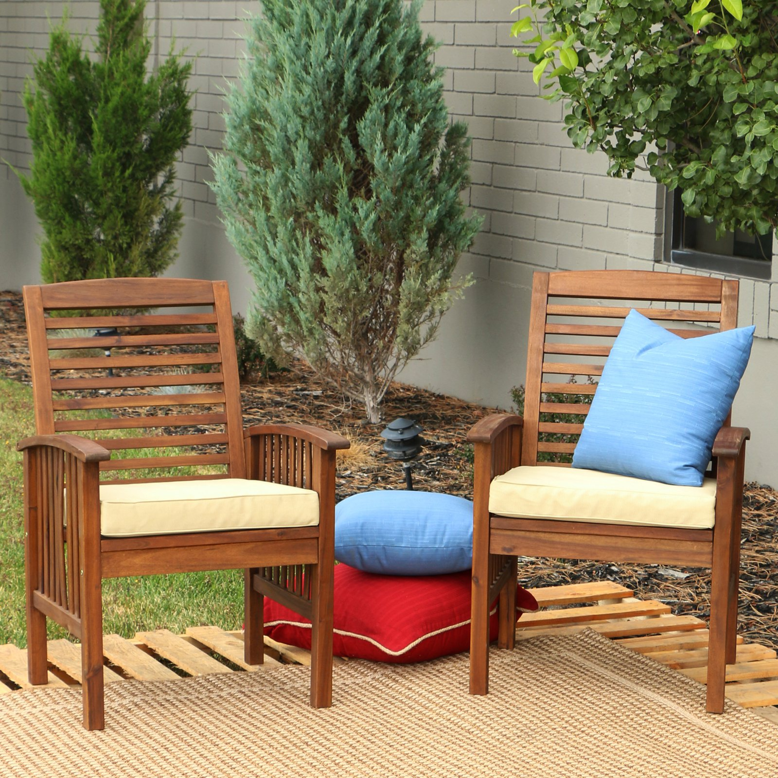 Walker Edison Acacia Wood Patio Chairs with Cushions - Set of 2