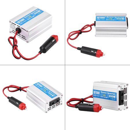HURRISE Silver 200W DC 12V to AC 110V Car Power Inverter Converter USB Charger Adapter - image 1 of 7