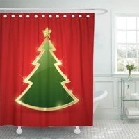 PKNMT Green Gold Simple Golden and Glossy Christmas Tree Red Star Waterproof Bathroom Shower Curtains Set 66x72 inch