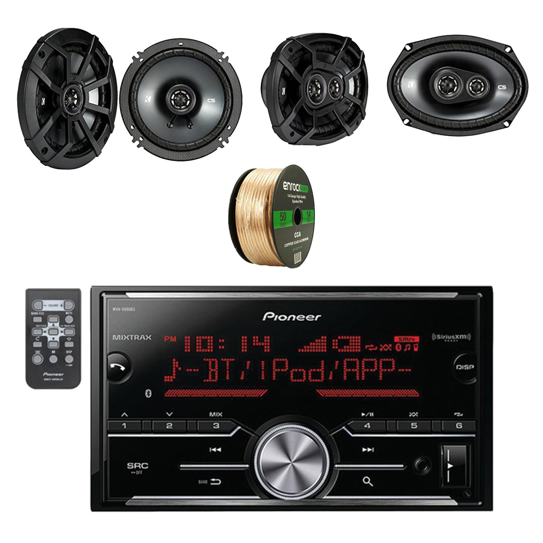 Pioneer Vehicle Digital Media 2DIN Receiver with Bluetooth W/ Kicker 6.5 Inch CS Series 2-Way Black Car Coaxial Speakers Pair, Kicker 6.9 Inch CS Series 3-Way Speakers Pair & Enrock Speaker Wire Cable
