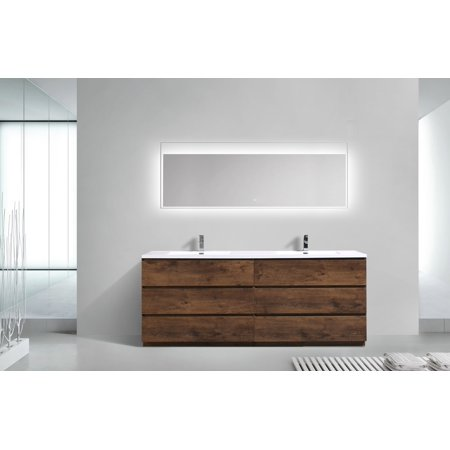 Angeles Series 84 Inch Free Standing Double Sink Bathroom Vanity