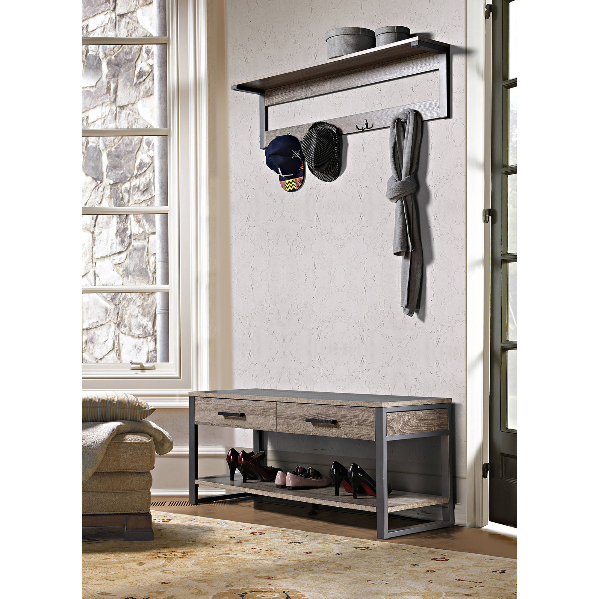 Homestar 2-Drawer/1-Shelf Entry Way Bench