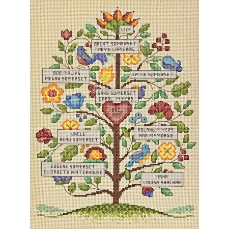 Dimensions Vintage Family Tree Counted Cross Stitch Kit, 9