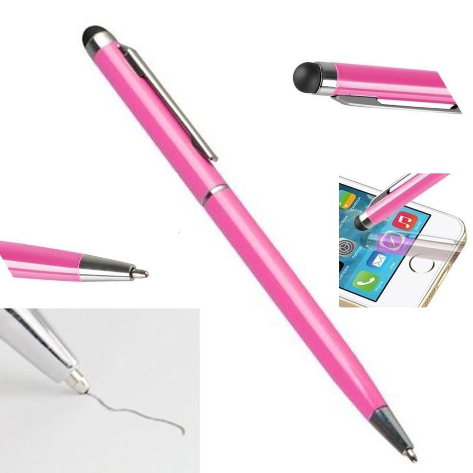 Stylus Pen [10 pcs, Pink], 2-in-1 Universal Touch Screen Stylus + Ballpoint Pen For Smartphones Tablets iPad iPhone Samsung etc