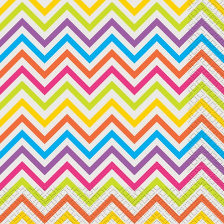 Party Lunch Napkins, Rainbow Chevron, 16ct ()