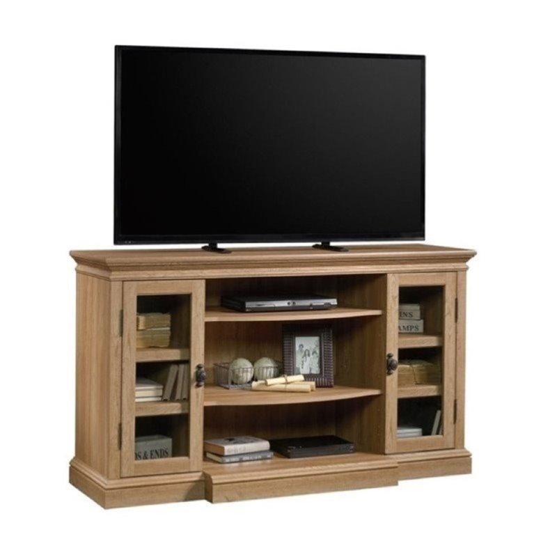 """Bowery Hill 59"""" TV Stand in Scribed Oak"""