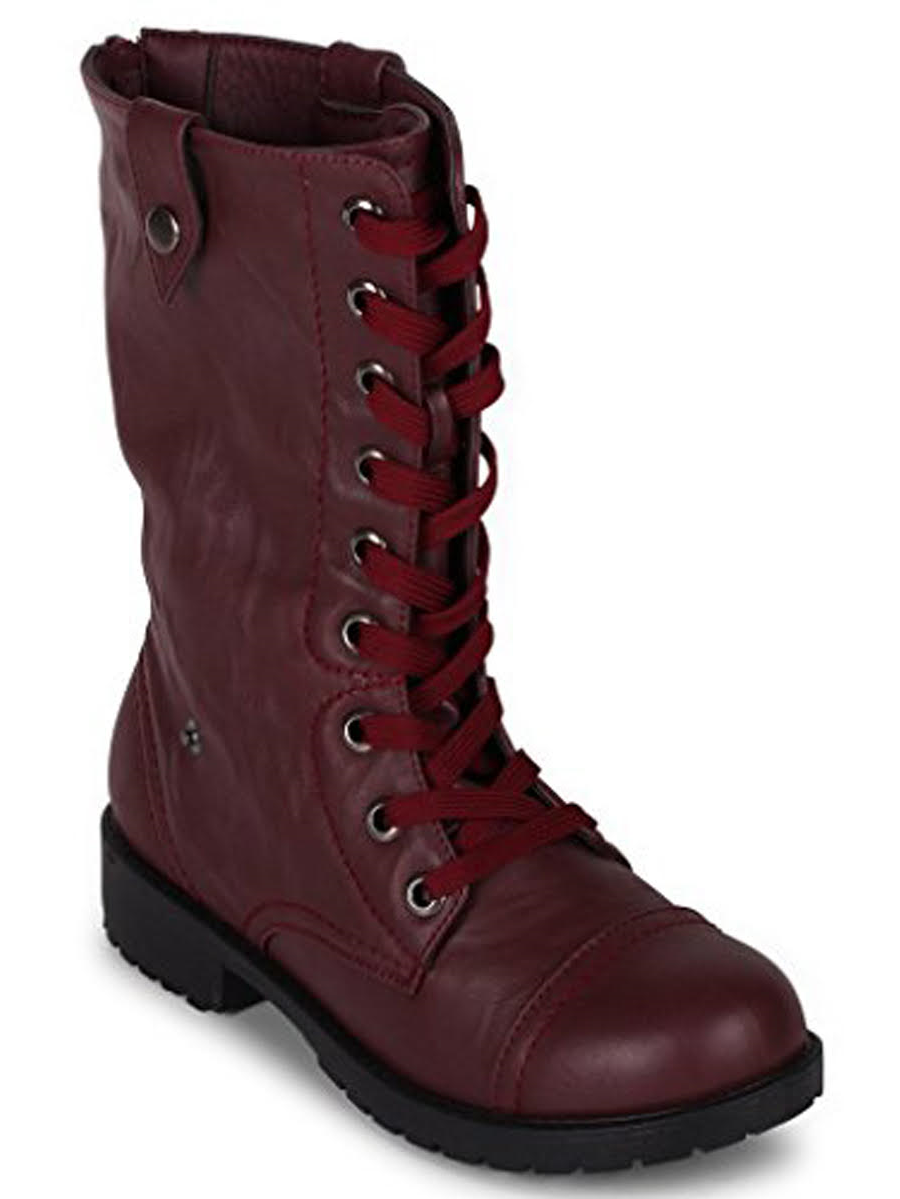 Wanted Colorado Burgundy vegan Combat Boot Fold-Over Knit lace up military boot (7.5)