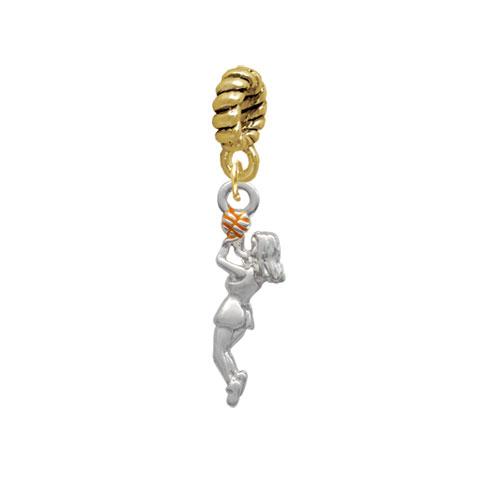 Silvertone Basketball Player Girl - Goldtone Charm Bead