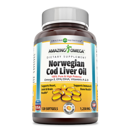 Amazing Omega Norwegian Cod Liver Oil 1250Mg 120 Softgels Orange Flavor