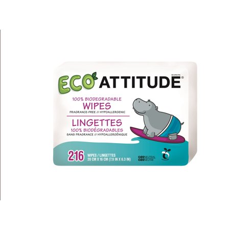 Attitude Eco Baby Wipes, Refill Pack, Unscented, 216