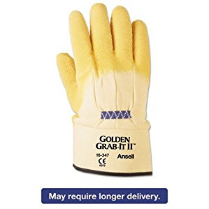 AnsellPro Golden Grab-It II Heavy-Duty Work Gloves, Size 10, Latex/Jersey, Yellow, 12 PR