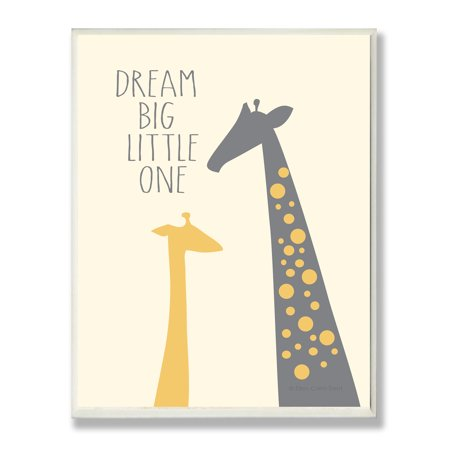 The Kids Room by Stupell Dream Big Little One With Giraffes Oversized Wall Plaque Art, 12.5 x 0.5 x 18.5