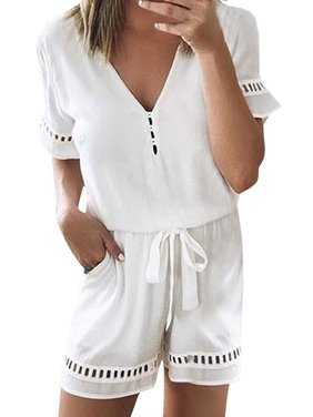 DYMADE Women's Summer Short Sleeve Loose Short Jumpsuit Rompers Elastic Waist Playsuit with Pockets