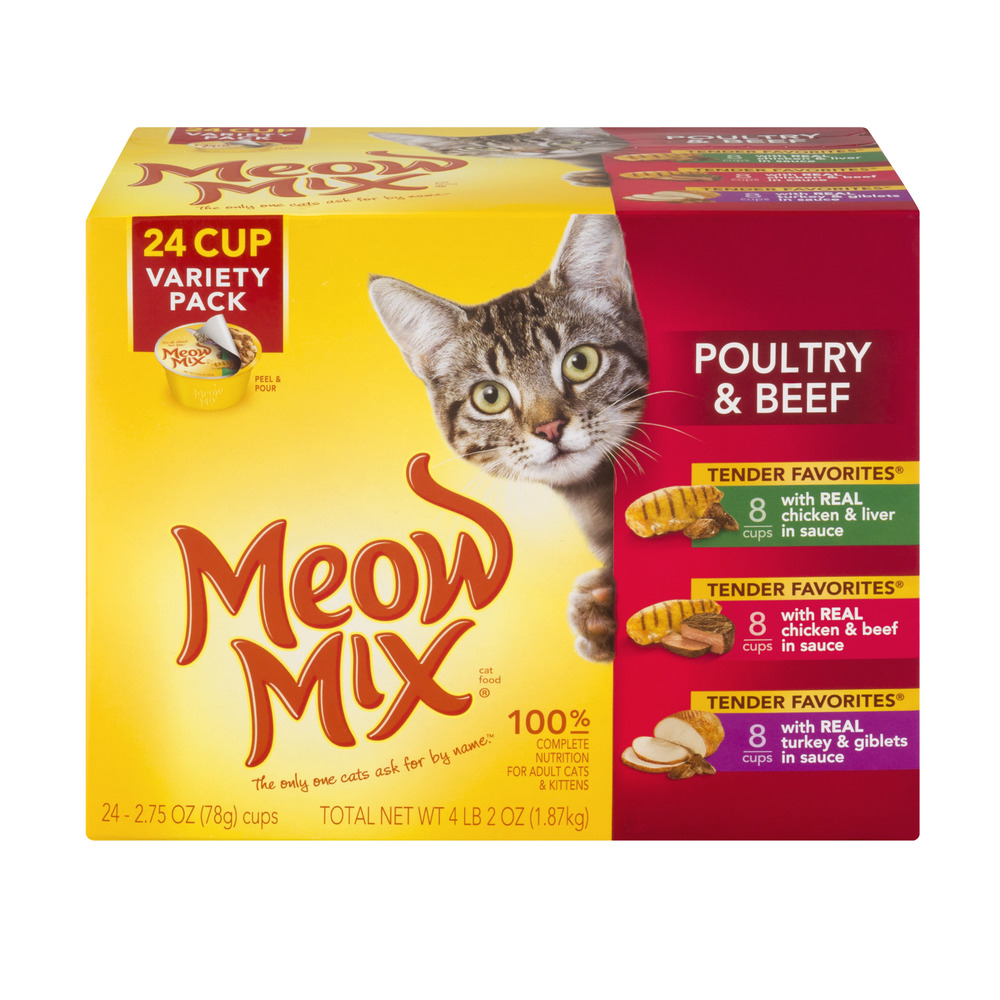 Meow Mix  Cat Food Variety Pack Poultry & Beef, 2.75 OZ