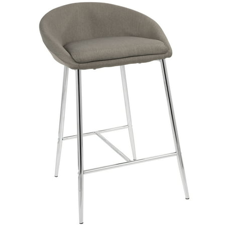 Matisse Glam 26 Counter Stool With Chrome Frame And Grey Fabric By