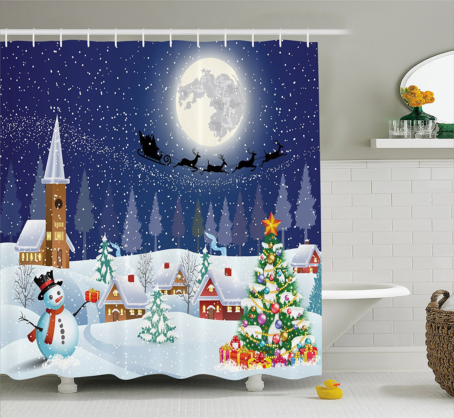 Christmas Bathroom Curtains.Christmas Shower Curtain Snowman Christmas Bathroom Acessories By Santa Reindeer Christmas Eve In Small Town With On Starry Night Winter Scene