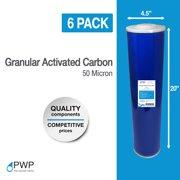 "20x4.5"" Big Blue Granular Activated Carbon GAC Water Filter 50 Micron 6 Pack"