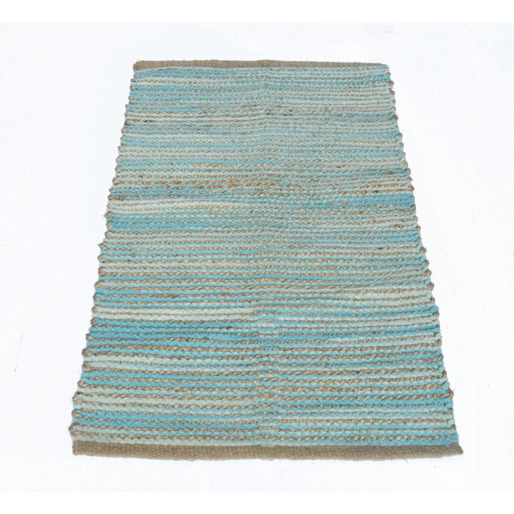 Knotted Patterned Carmel Rug In Jute/Cotton Chenille
