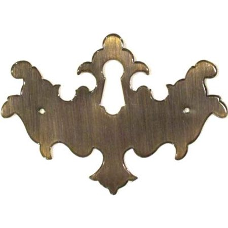 Restoration Hardware Silk - Antiqued Stamped Brass Chippendale Style Keyhole Cover - Antique Furniture Restoration Hardware - AB-0165