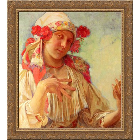 Young Girl In A Moravian Costume 20x21 Gold Ornate Wood Framed Canvas Art by Mucha, Alphonse Maria