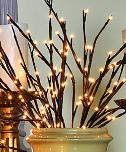 Lighted Willow Branch - 60 Bulbs - 20 InchesDark Brown wi...