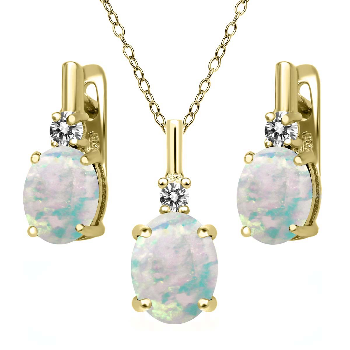 4.87 Ct Simulated Opal White Diamond 18K Yellow Gold Plated Silver Jewelry Set by