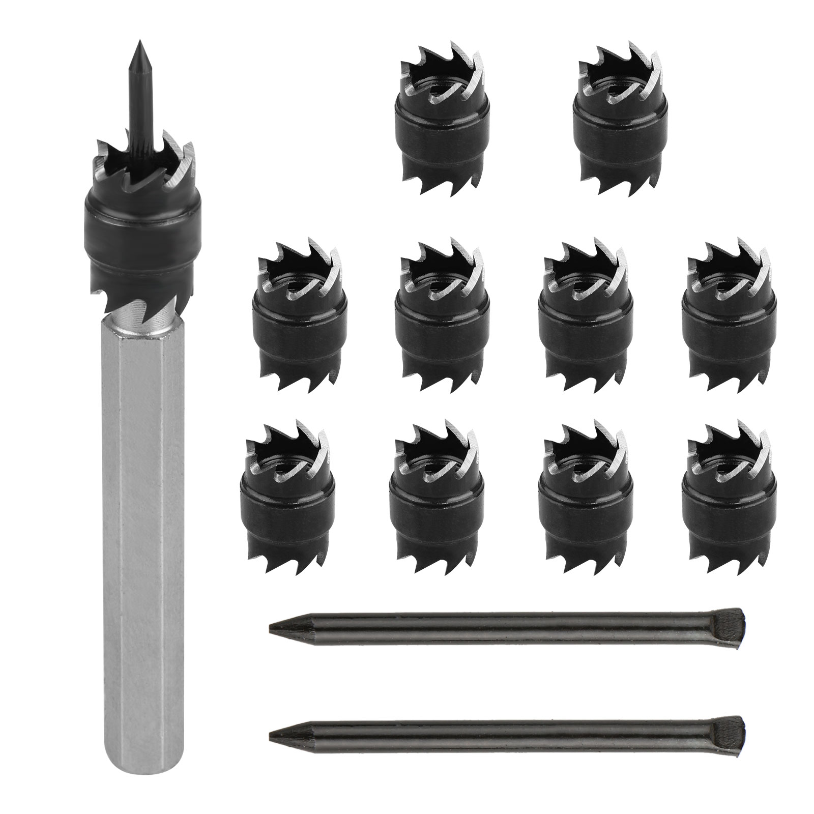 13-pack Double Sided 3/8inch Spot Weld Cutter Rotary Blade and Hex Shank Drill Bit Remover Welder Cut Tool