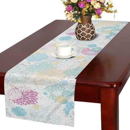 MKHERT Floral Chrysanthemums Daisy Light Blue Pink Table Runner Home Decor for Wedding Banquet Decoration 16x72 Inch](Pink And Blue Table Decorations)