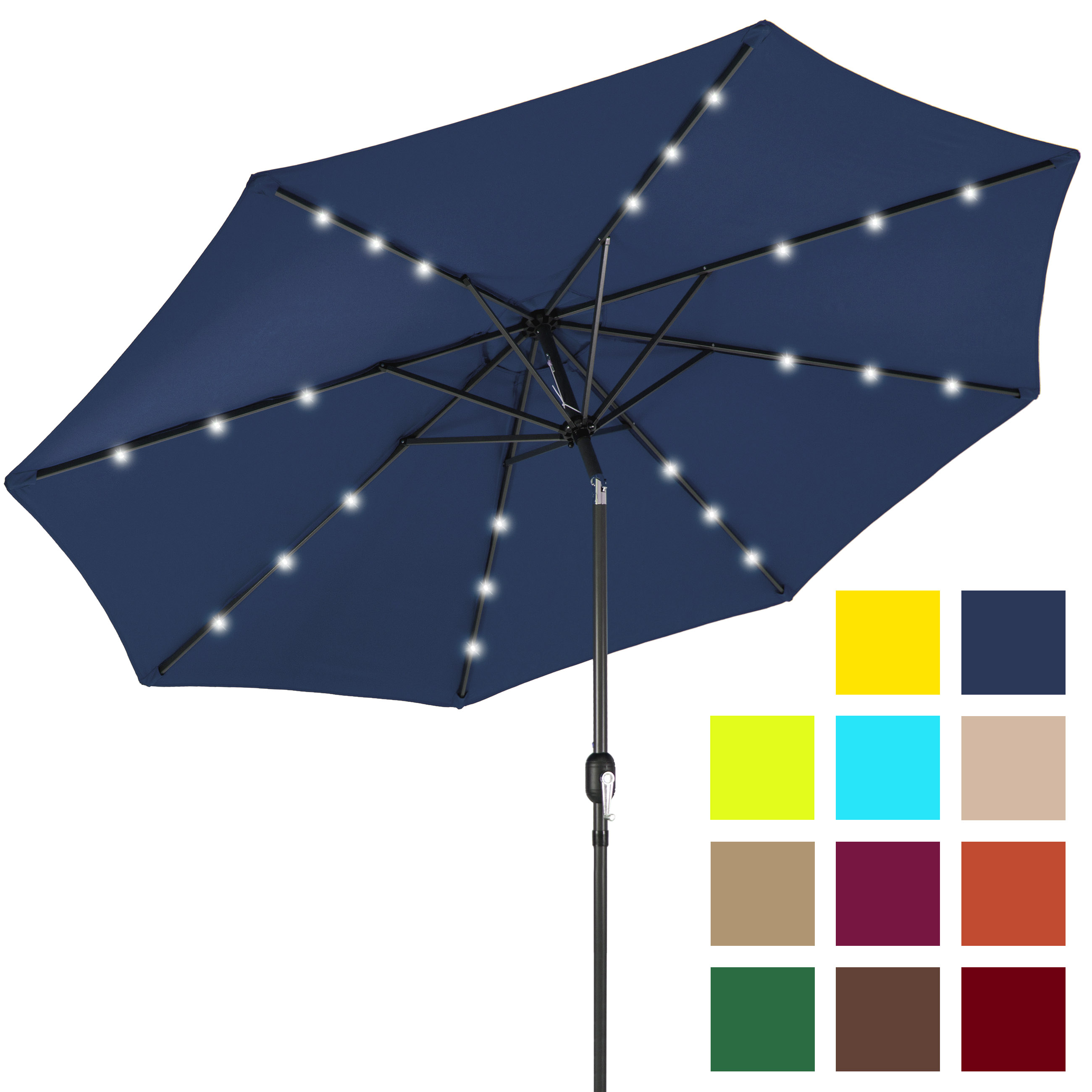Best Choice Products 10ft Solar LED Lighted Patio Umbrella w  Tilt Adjustment Navy Blue by Best Choice Products