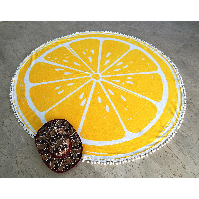 Bhg Round Beach Towel Lemon by Better Homes & Gardens