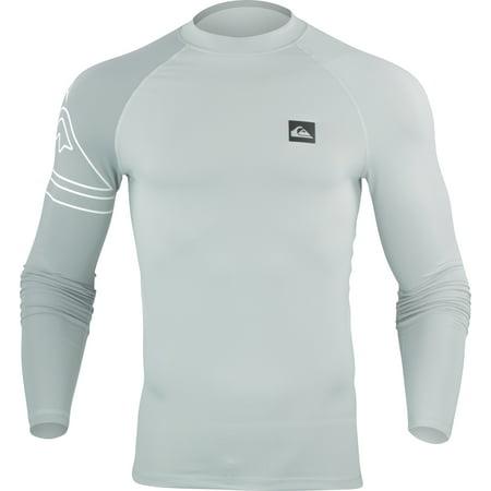 Quiksilver Mens Active LS Rashguard - Microchip Gray/White