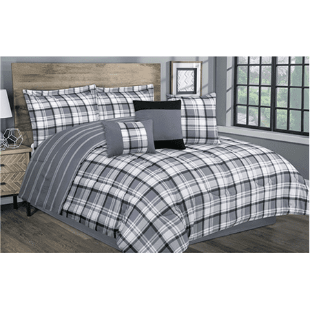 Country Farmhouse, Rustic Cabin, Black & Grey Plaid King 7 Piece Comforter Set- New! (Primitive Country Comforter Set)