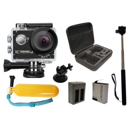 Super Bundle LINSAY TRUE 1080p Action Camera with Hard Carrying Case, Extra Long Life Battery, Stick Hold Camera, Card Holder mount and Floating Handle Grip Mounts Extra Cameras