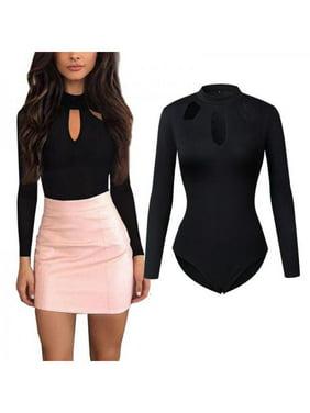 Sexy Women's Long Sleeve Hollow Romper Bodysuit